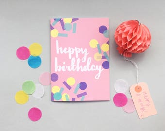 Birthday Card - brush lettering on pink card with pastel confetti detail