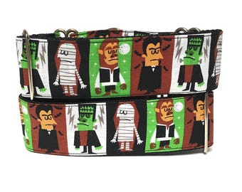 Halloween collar, Martingale collar, Dog collar, MONSTERS collar, monsters dog collar, Halloween martingale, monsters martingale