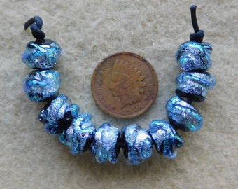 10 Bright Silver Mini Baroque Dichroic Lampwork Beads by Dee Howl Beads