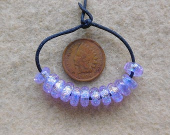 12 Sparkling Lilac Golden Dichroic Lampwork Mini Spacer Beads handmade by Dee Howl Beads