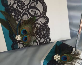 Peacock Feathers Guest Book and Pen Stand Set Teal Black Lace Rhinestone Ivory