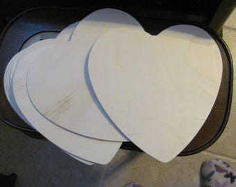 Large unfinished Hearts, 8 Inches, Lot of 10....Wood Cut OUt Heart