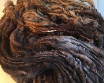 Black, Brown and Caramel English Leicester  Handspun Chunky Yarn