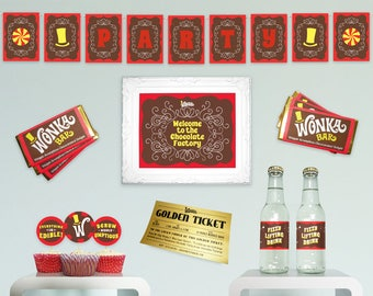 Willy Wonka birthday party decorations DiY printable party kit Charlie and the Chocolate Factory party essentials basic complete kit ReD