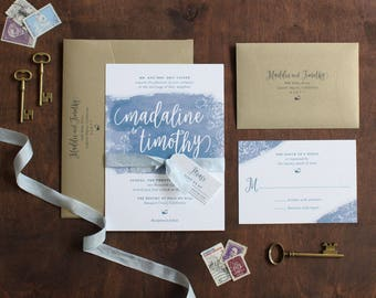 Watercolor Wedding Invitation, Printed Invitation, Floral and Watercolor Invitation, Ribbon and tag SAMPLE