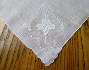 White Orchid Handkerchief, Vintage Wedding Handkerchief, White Floral Hanky, Vintage Hanky, Antique Wedding Hanky, White Hanky, Hand Rolled