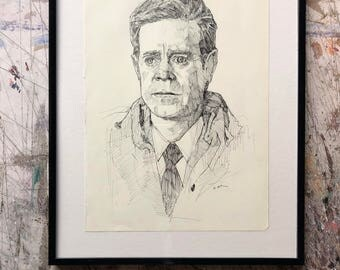 Hand drawn portrait of William H. Macy - framed