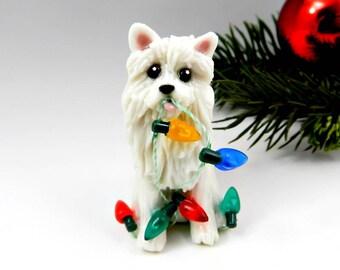 American Eskimo Dog Christmas Ornament Figurine Handmade Porcelain