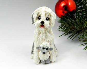 Old English Sheepdog with Sheep Christmas Ornament Figurine Porcelain