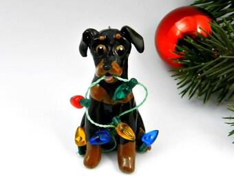 Miniature Pinscher Min Pin Christmas Ornament Figurine lights Porcelain