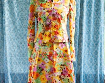 Vintage Skirt Jacket Hood 80s Mod Flowers
