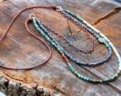 Triple Layer Gemstone Beaded Boho Necklace