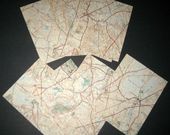 Vintage  (1938) Massachusetts City Map  - Wrentham, MA - in 9 Sections - Great for Crafting