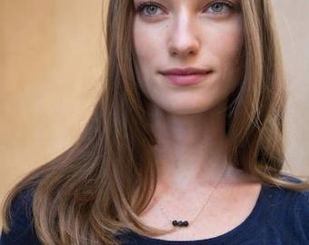SUMMER SALE LAVA Rock diffuser jewelry for essential oils - simple / minimalist triple necklace