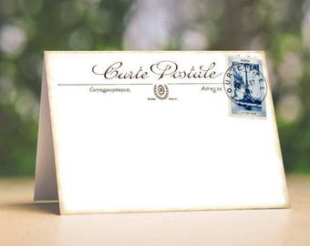 Wedding Place Cards Vintage French Eiffel Tower Postcard Tent Style Wedding Place Cards or Table Place Cards #150