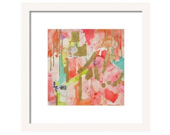Watercolor Abstract Art Print-Wall Art-Wall Decor-Fine Art-Coral-Pink-Watercolor-Office Art-Abstract Painting-Giclee