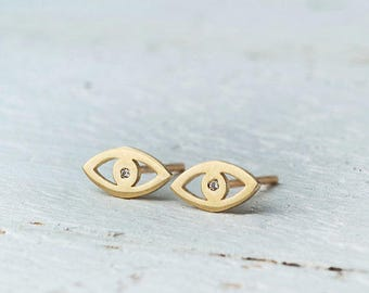 Evil Eye Earrings Solid Gold Earrings CZ Earrings Dainty solid 14k solid Gold Evil Eye post earrings gift for her womens gift for wife