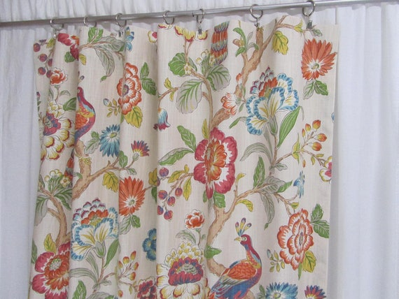 "Vibrant Bird Curtains, Colorful Window Treatments, Bright Floral Drapes, Whimsical Curtains, Custom Rod Pocket Panels, One Pair 50""W"