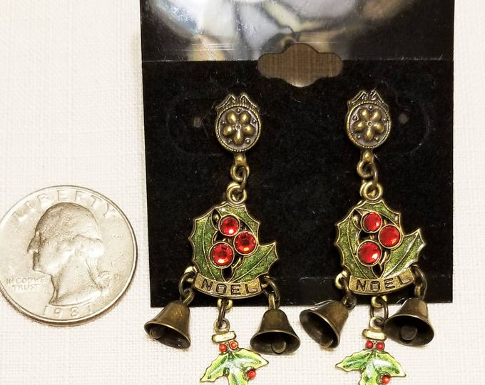 Featured listing image: CH-112, Christmas Earrings with Dangles of Bells and Holly Accented with Red Rhinestones