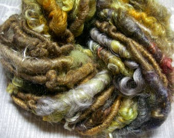 Handspun Corespun Mixed Wool Curly Art Yarn in Brown Gold with Icelandic Wool and Silk Roving by KnoxFarmFiber for Knit Weave Embellishment