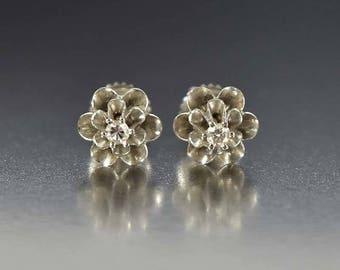 Antique Diamond Stud Earrings | 14K White Gold Diamond Earrings | Threaded Earrings | French Buttercup Earrings | Antique Earrings Studs