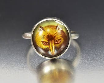 Victorian Essex Crystal Ring | Fox Ring | Rock Crystal Ring | Silver Reverse Intaglio Ring | Antique Ring | Animal Ring Hunting Gift