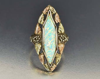 Vintage 10K Yellow Rose Gold Opal Ring | Art Deco Silver Leaf Ring | Navette Ring | Vintage Statement Ring | Rose Gold Ring | Art Deco Ring
