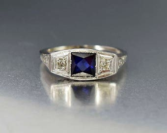 Antique Diamond Sapphire Ring | 18K White Gold Art Deco Ring | Sapphire Engagement Ring | Antique Sapphire Diamond Ring | Gold Filigree Ring