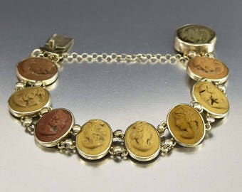 Antique Italian Lava Cameo Bracelet | Hand Carved Lava Stone Bracelet | High Relief Cameo | Victorian Bracelet Grand Tour Souvenir Bracelet