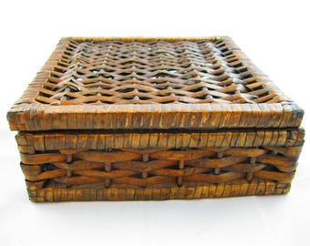Woven Wooden Hinged Box.