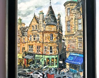Edinburgh Scotland Painting Original Oil Cockburn Street Old Town European Architecture Royal Mile Painting by Gwen Meyerson