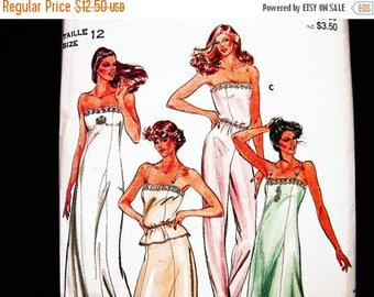 SALE 25% Off Womens Slip Sewing Pattern Misses Size 12 Woman Camisole Pattern Long Slip Pattern Full Slip Pattern Half Slip Pattern