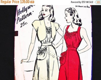 on SALE 25% Off 1940s Vintage Hollywood Pattern Womens Sun Dress and Bolero Jacket Misses size 14 bust 32, Shirred Top Dress with Pocket Sew