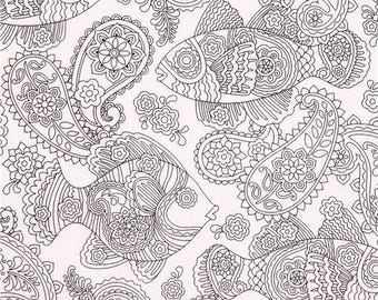 205361 coloring fabric with fish flower leaf by Michael Miller