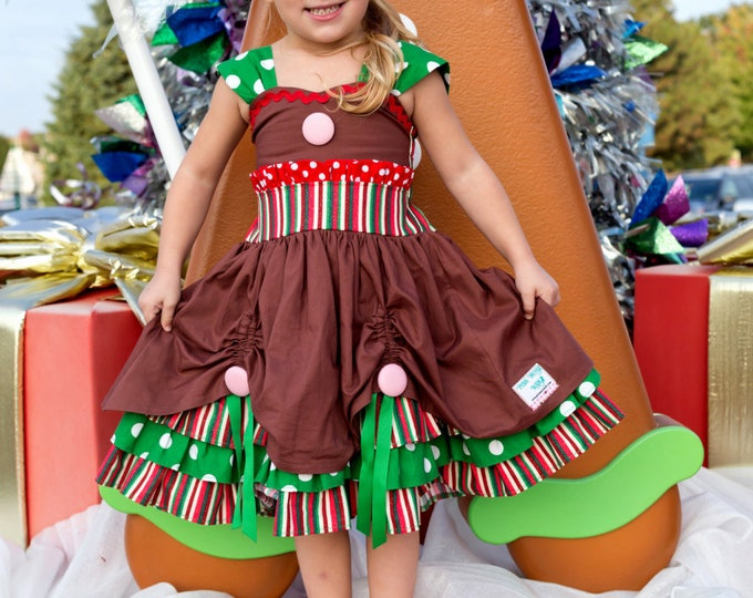 Gingerbread Dress - Christmas Dress - Girls Holiday Dress - Toddler Christmas Dress - 1st Christmas - Baby Girl Dress - 6 mo to 8 yrs