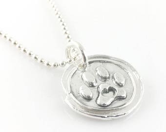Dog Lover Paw Print | Wax Seal Inspired Necklace - handmade, fine silver
