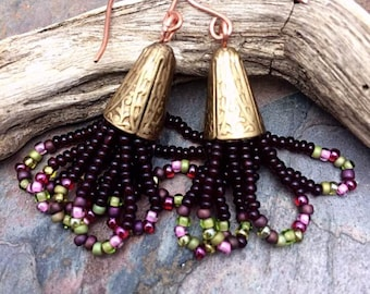 Pomegranate Hoops  Long Seed Bead Earrings by Marta Weaver Jewelry, Ready to Ship, Free USA Shipping