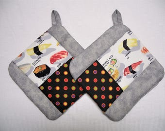 I Love Sushi Pot Holders, Set of 2, Insulated Potholders, Contemporary Gray Fabric Potholders, Trivets, Hot Pads
