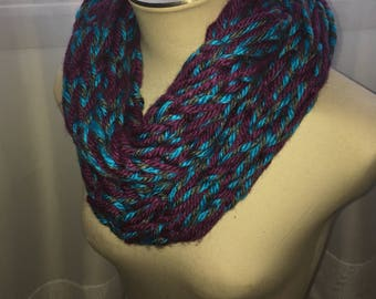 Hand Knit Infinity Scarf- Purple,Aqua & Grey