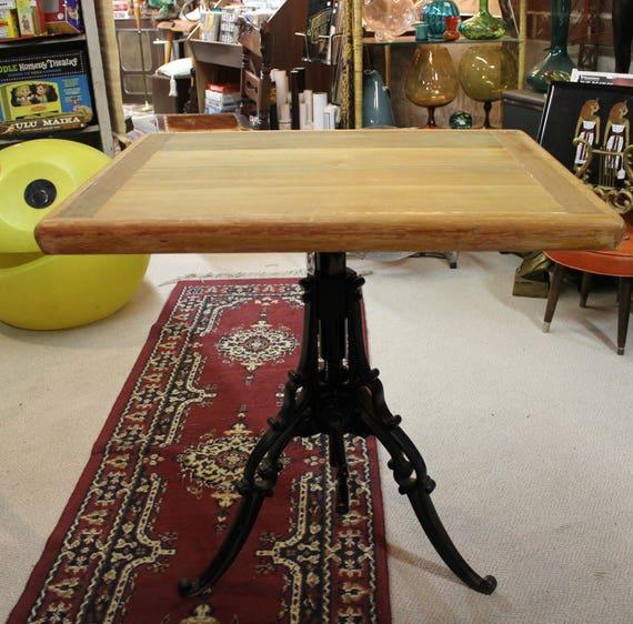 Antique E B Meyrowitz Crank Table, Industrial Adjustable Cast Iron Base, Wood Top, Steampunk 1900s