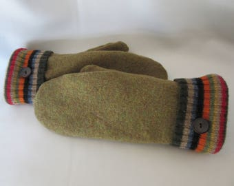 Olive Green Sweater Mittens