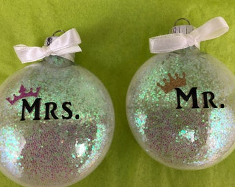 Mr. And Mrs. Crowns Shimmering Glass Christmas Ornaments