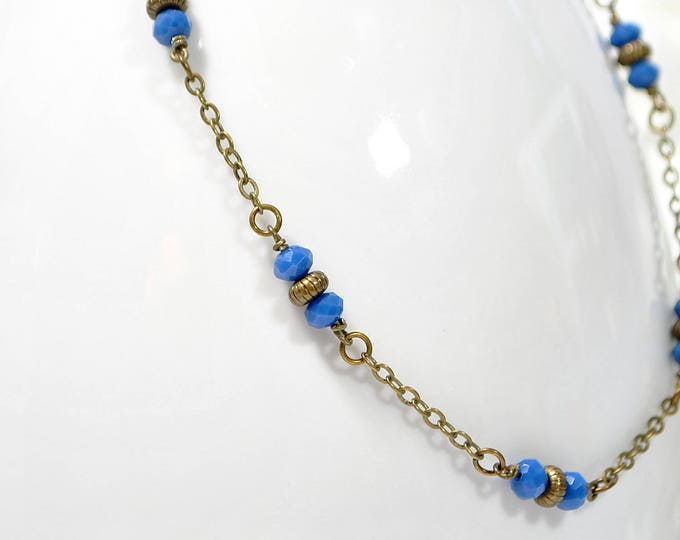 Blue Anklet Boho Anklet Blue Bronze Chain Anklet Boho Jewelry Chain Ankle Bracelet Large Anklet Handmade Foot Jewelry