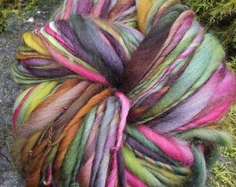 Handspun art yarn, Merino handpainted yarn, super bulky thick and thin-Poison Apple