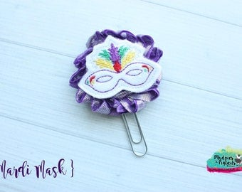 Mardi Gras Planner Clip { Mardi Mask } new Orleans, Paper Clips, Fleur de Lis Stationary, Planner Supplies, gift, parade, party