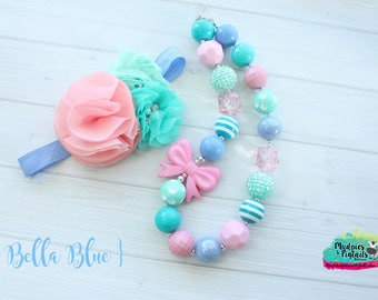 Cotton Candy necklace or baby headband { Bella Blue } aqua, teal pink, first birthday, circus, easter, spring cake smash photography prop