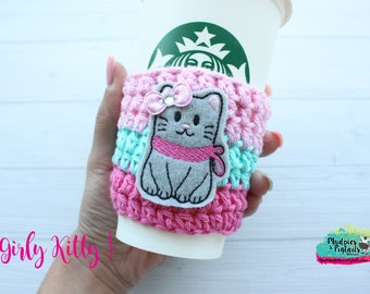 Crochet cup cozy { Girly Kitty } cat, gray kitten pink aqua, zoo gift, teacher gift, knit mug sweater, animal lover, coffee cup sleeve