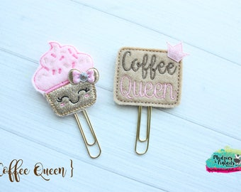 Planner Clip { Coffee Queen } cupcake, sprinkles, pink, birthday Paper Clips, Stationary, Planner Supplies, gift, parade, party