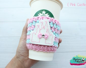 Princess Crochet Coffee Cozy { Pink Castle } Make it Pink, Make it Blue Cinderella Inspired striped, coffee sleeve, mug starbucks