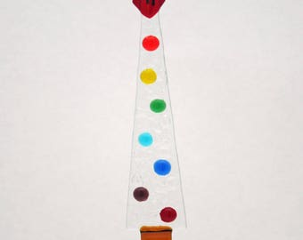 Glassworks Northwest - Icicle Rainbow Dot Tree - Fused Glass Ornament